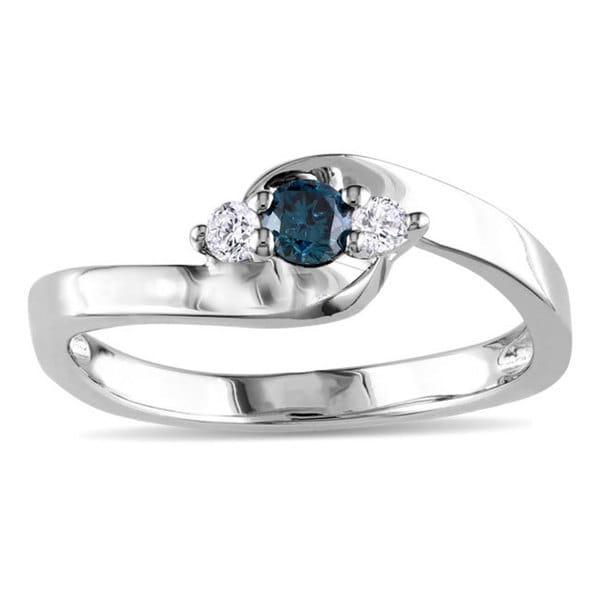 Miadora Sterling Silver 1/4ct TDW Blue and White Diamond Three-Stone Bypass Ring