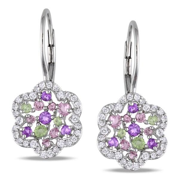 Miadora Sterling Silver Multi-gemstone Dangle Earrings (2 1/5ct TGW)