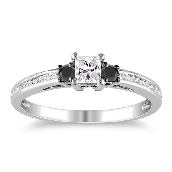 Miadora 10k White Gold 1/2ct TDW Black and White Princess-cut Diamond Ring