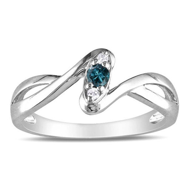 Miadora Sterling Silver 1/10ct TDW Blue and White Diamond Ring