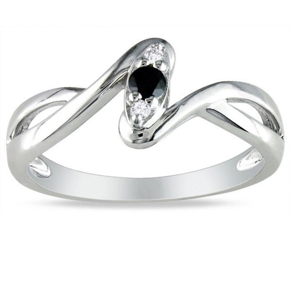 Miadora Sterling Silver 1/10ct TDW Black and White Diamond Promise Ring (G-H, I2-I3)