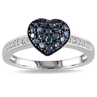 Miadora Silver 1/3ct TDW Blue and White Diamond Heart Ring