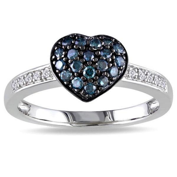 Miadora Silver 1/3ct TDW Blue and White Diamond Heart Ring (H-I, I3)