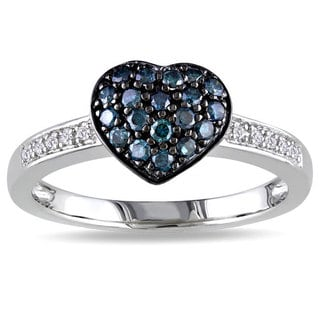 Miadora Silver 1/3ct TDW Blue and White Diamond Heart Ring