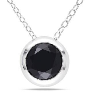 Miadora Sterling Sliver 2ct TDW Black Diamond Fashion Necklace