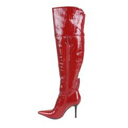 Beston Italina Women's Faux Leather Red Over-the-Knee Boots - Thumbnail 1