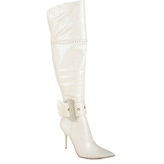 Beston Italina Women's Faux Leather White Over-the-Knee Boots