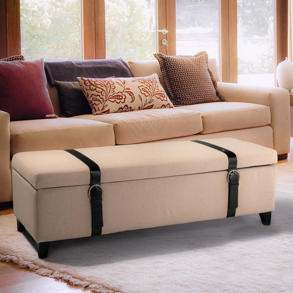Ivory Fabric Storage Ottoman with Straps by Christopher Knight Home