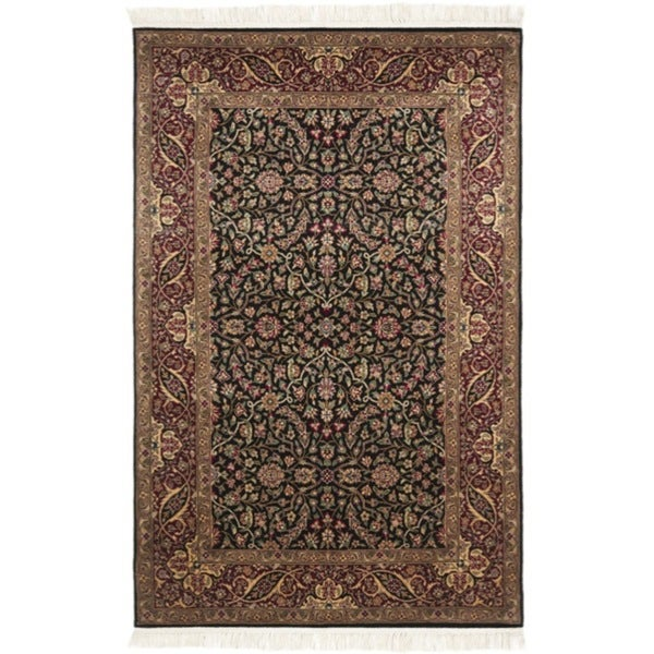 Safavieh Couture Royal Kerman Hand-Knotted Black/ Red Wool Area Rug (4' x 6')