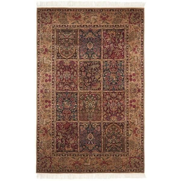 Chinese Hand-knotted Royal Kerman Multi/ Tan Wool Rug (4' x 6')