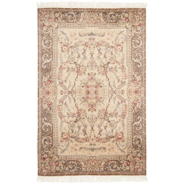 Safavieh Couture Royal Kerman Hand-Knotted Beige/ Tan Wool Area Rug (4' x 6')