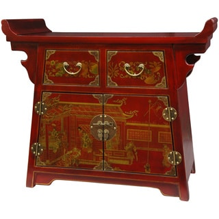 Handmade Wood Red Lacquer Village Life Altar (China)