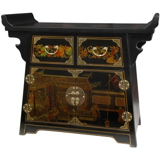 Handmade Wood Black Lacquer Village Life Altar (China)