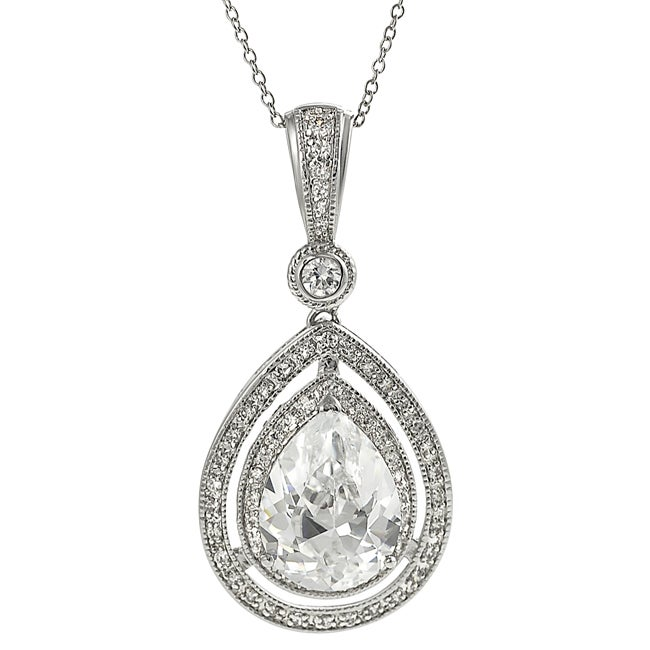 Journee Silvertone Pave-set Teardrop-shaped Cubic Zirconia Necklace