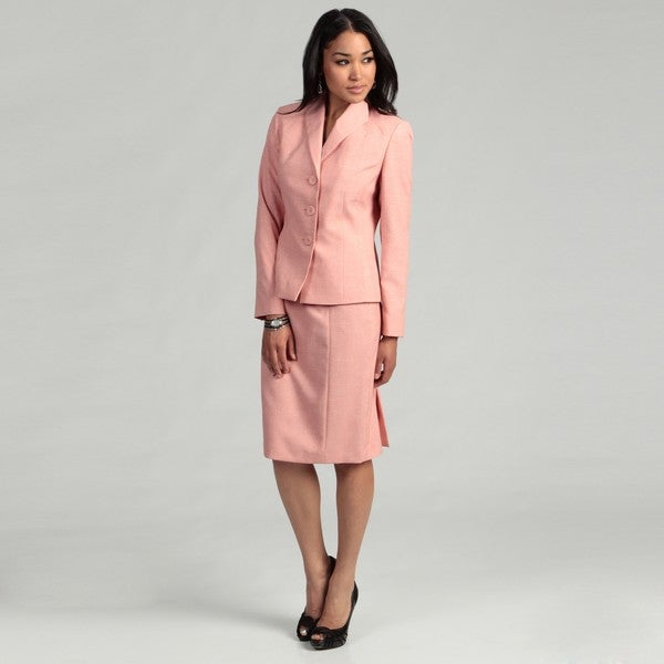 Evan Picone Women's Coral/ White Skirt Suit