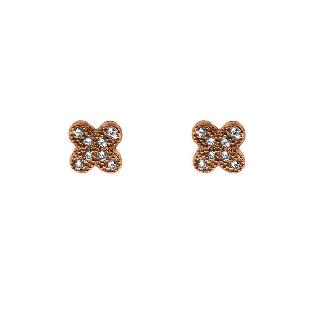 Brown-plated Clear Cubic Zirconia Clover Stud Earrings