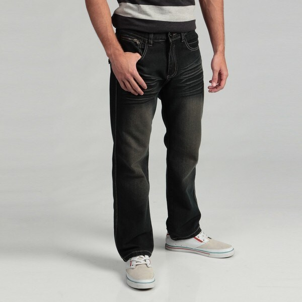 KH7OME Men's Dark Indigo Straight Leg Denim Jeans