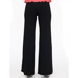 Shining Star Women's Black Knit Bootcut Pants - Thumbnail 1