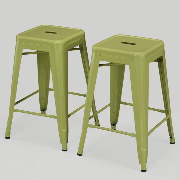 tabouret 24inch limeade metal counter stools set of 2 free shipping today - Metal Counter Stools