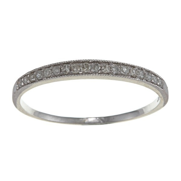 10k White Gold 1/6ct TDW Diamond Milligrain Band