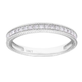 10k White Gold 1/6ct TDW Diamond Wedding Band