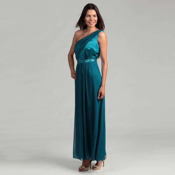 Onyx Nite Woman's Single-shoulder Detail Gown