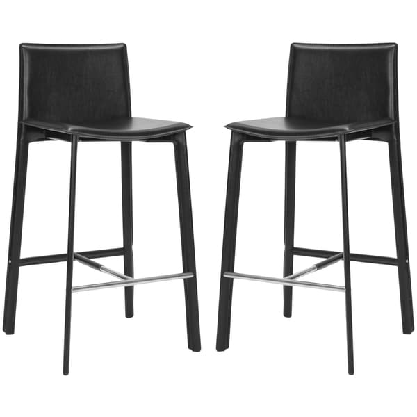 Safavieh 28.5-inch Madison Black Leather Bar Stool (Set of 2)