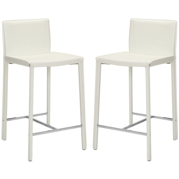 Safavieh Mid-Century 26-inch Park Ave White Counter Stool (Set of 2)