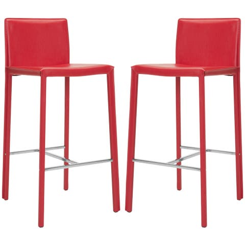 "Safavieh Mid-Century 30-inch Park Red Leather Bar Stool (Set of 2) - 18.3"" x 19.7"" x 39.4"""