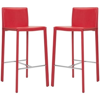 Safavieh Mid-Century 30-inch Park Red Leather Bar Stool (Set of 2)