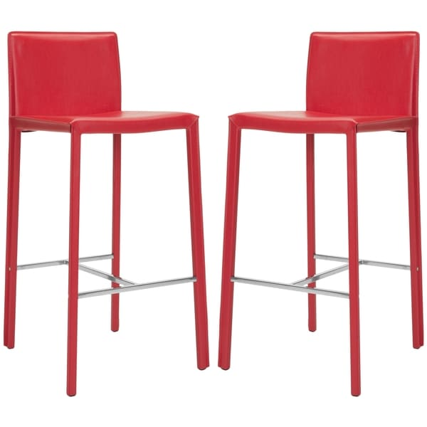 Safavieh 30-inch Park Red Leather Bar Stool (Set of 2)