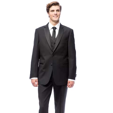 Black Classic Fully Lined Two-buttoned Vested Tuxedo