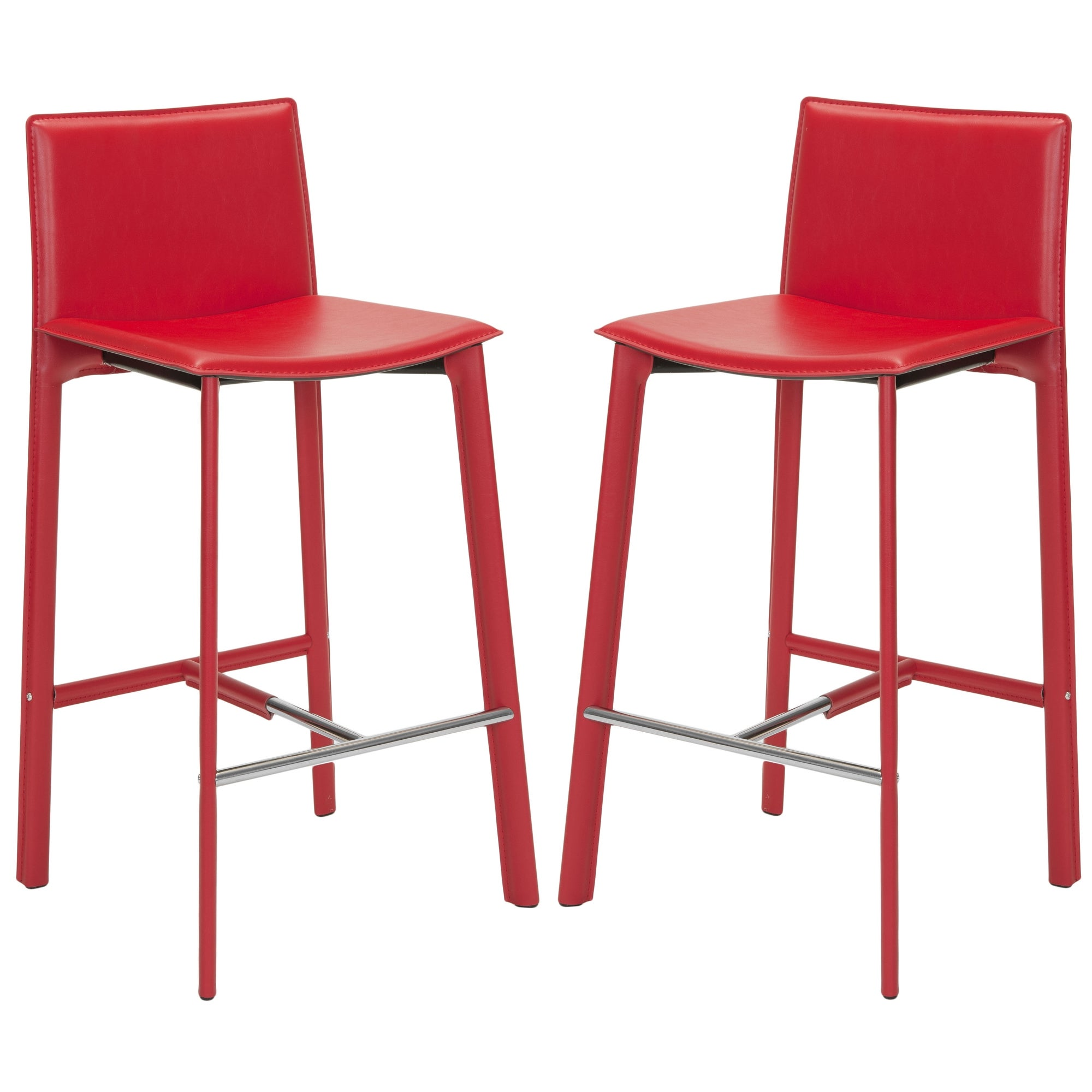 Remarkable Safavieh Mid Century 28 5 Inch Madison Red Leather Bar Stool Set Of 2 18 7 X 19 7 X 39 4 Alphanode Cool Chair Designs And Ideas Alphanodeonline