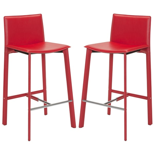 Safavieh Mid-Century 28.5-inch Madison Red Leather Bar Stool (Set of 2)