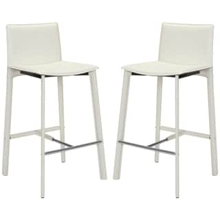 Safavieh Mid-Century 28.5-inch Madison White Leather Bar Stool (Set of 2)