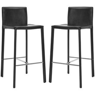 Safavieh Mid-Century 30-inch Park Black Leather Bar Stool (Set of 2)