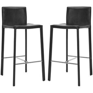 safavieh midcentury 30inch park black leather bar stool set of 2