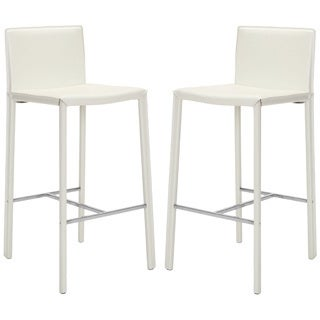 Safavieh Mid-Century 30-inch Park White Leather Bar Stool (Set of 2)