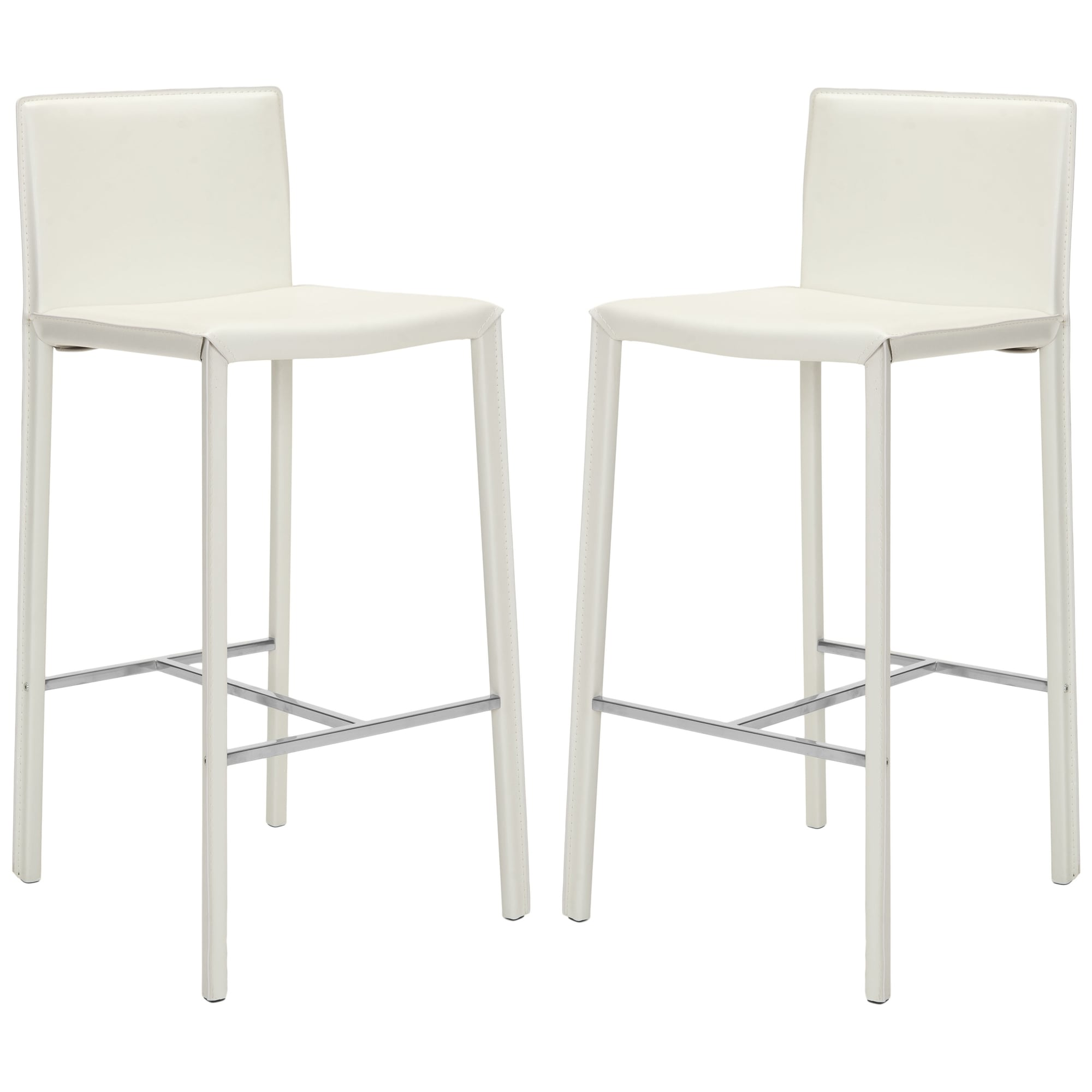 30 Inch Park White Leather Bar Stool