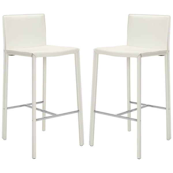 white leather bar stools Shop Safavieh Mid Century 30 inch Park White Leather Bar Stool  white leather bar stools