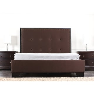 Abbyson Metropolitan Dark Brown Fabric King-size Platform Bed