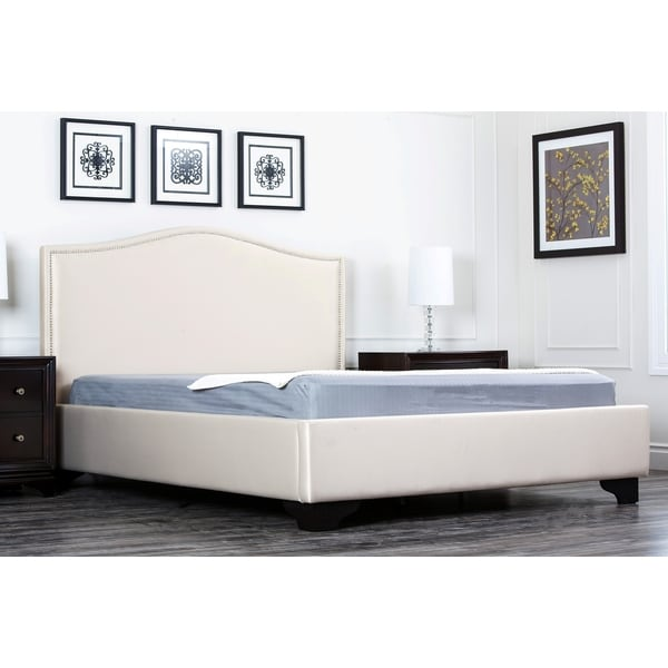 Abbyson Camden Cream Fabric King-size Platform Bed