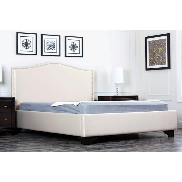 Abbyson Camden Cream Fabric King-size Platform Bed