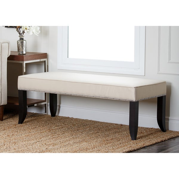 ABBYSON LIVING Camden Cream Fabric Ottoman Bench