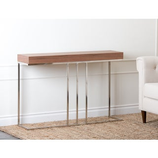 Abbyson Verona Walnut Metal Sofa Table