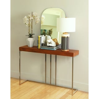 Abbyson Verona Walnut Metal Sofa Table