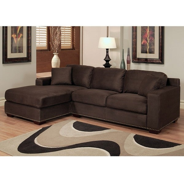 abbyson living monrovia dark brown nailhead trim microsuede sectional