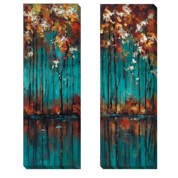 Luis Solis 'The Mirror I and II' 2-piece Canvas Art Set