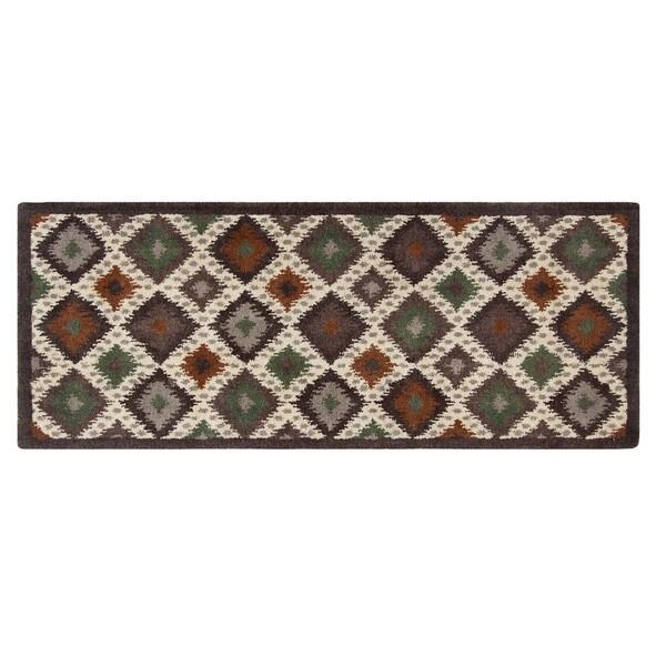 Blended Wool Ikat Earth Runner Rug (2'2 x 5'6)