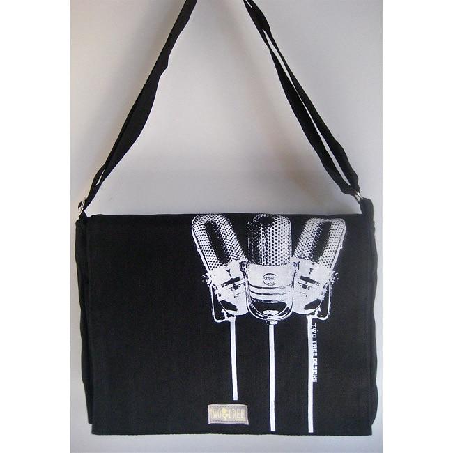 Two Trees Designs Black '3 Microphones' Medium Messenger Bag
